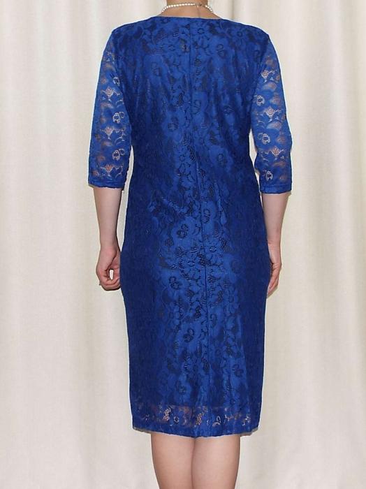 Rochie midi eleganta din dantela cu accesoriu - Marisa Albastru [1]