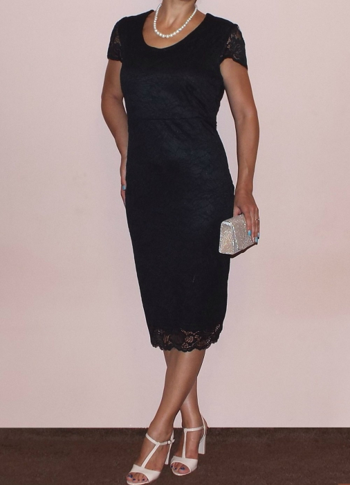 Rochie midi eleganta din dantela cu maneca scurta - Vega Negru 1
