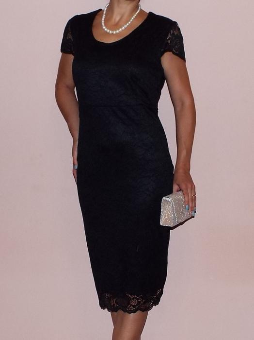Rochie midi eleganta din dantela cu maneca scurta - Vega Negru 0