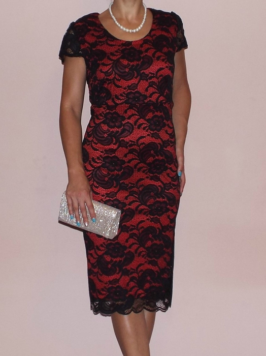 Rochie midi eleganta din dantela cu maneca scurta - Vega Rosu 0