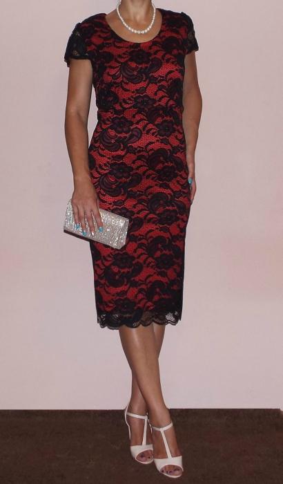 Rochie midi eleganta din dantela cu maneca scurta - Vega Rosu 1