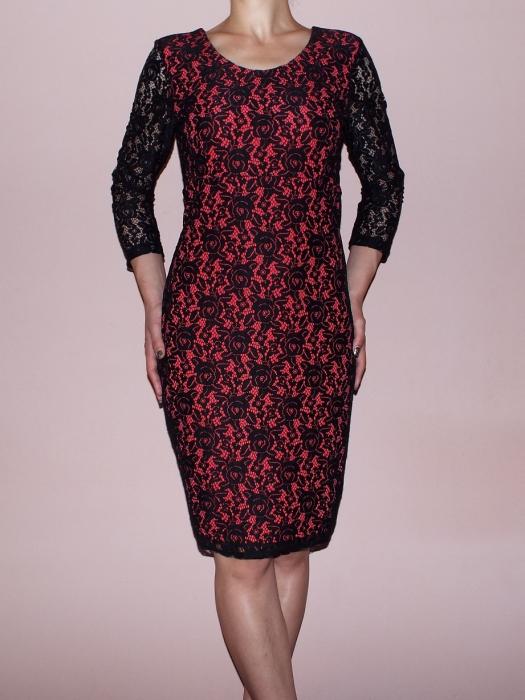 Rochie midi eleganta din dantela neagra cu dublura corai - Gia Corai 0