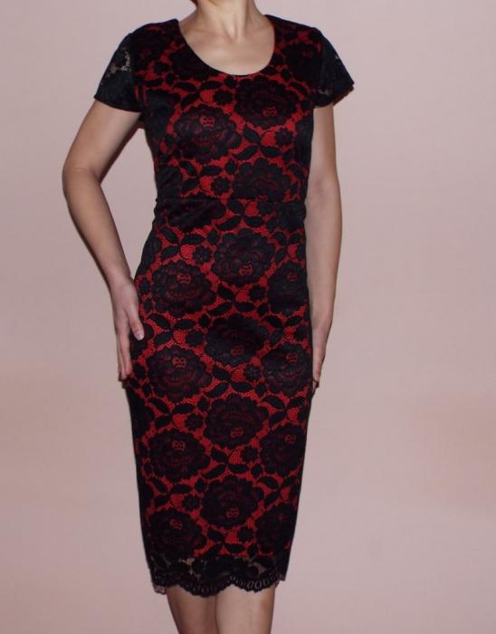 Rochie midi eleganta din dantela neagra cu maneca scurta - Lili [0]