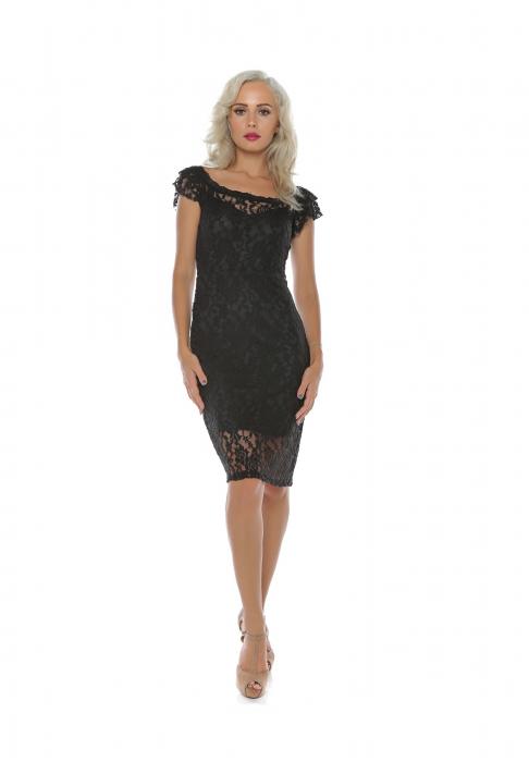 Rochie midi eleganta din dantela neagra - R649N 0
