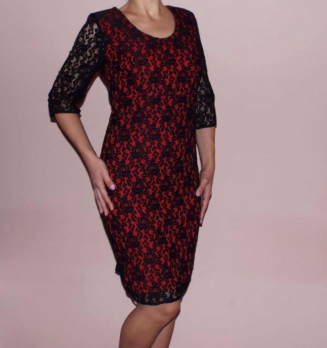 Rochie midi eleganta din dantela neagra si dublura rosie - Gia 0