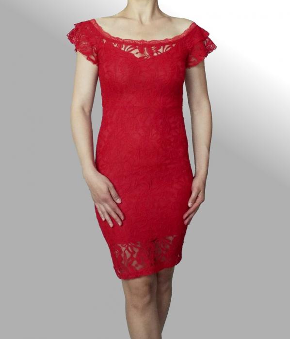 Rochie midi eleganta din dantela rosie - R649R 0