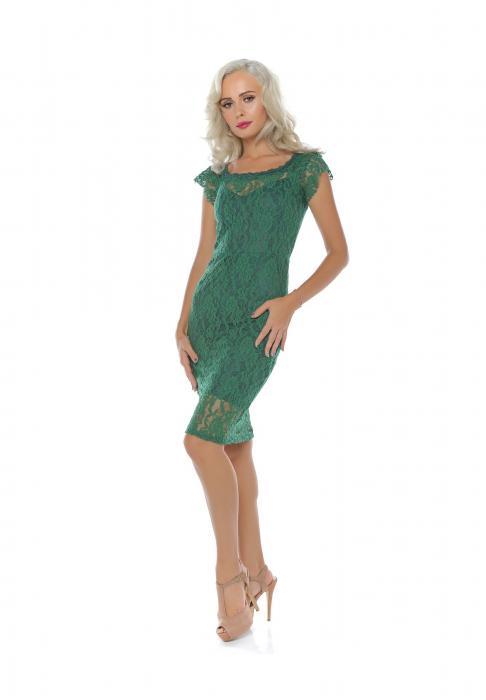 Rochie midi eleganta din dantela verde - R649V 0