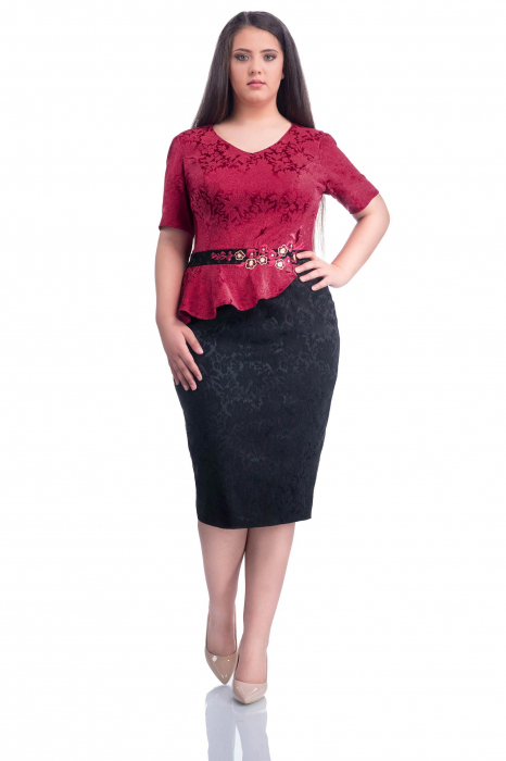 Rochie midi eleganta din jacard cu aplicatii florale - Octavia 0