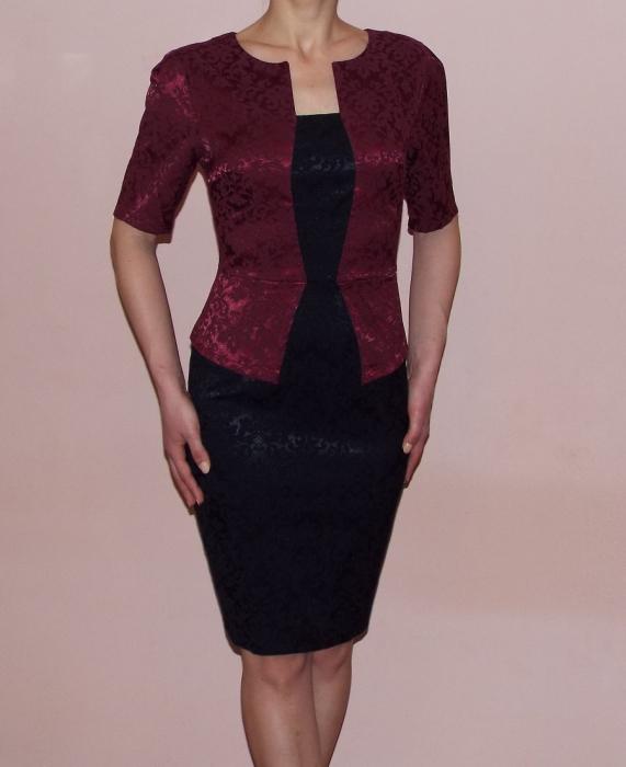Rochie midi eleganta din jacard cu maneca scurta - Anastasia 0