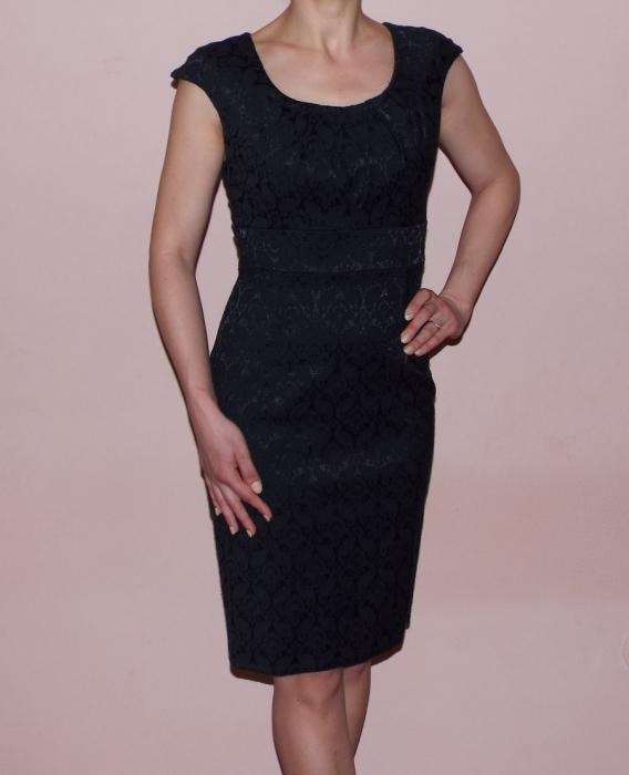 Rochie midi eleganta din jacard cu maneca scurta - Simina Negru 0