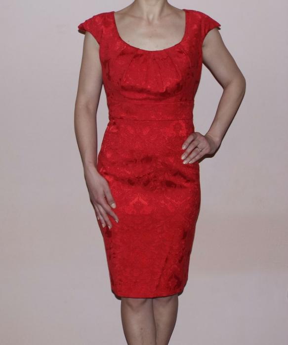 Rochie midi eleganta din jacard cu maneca scurta - Simina Rosu 0