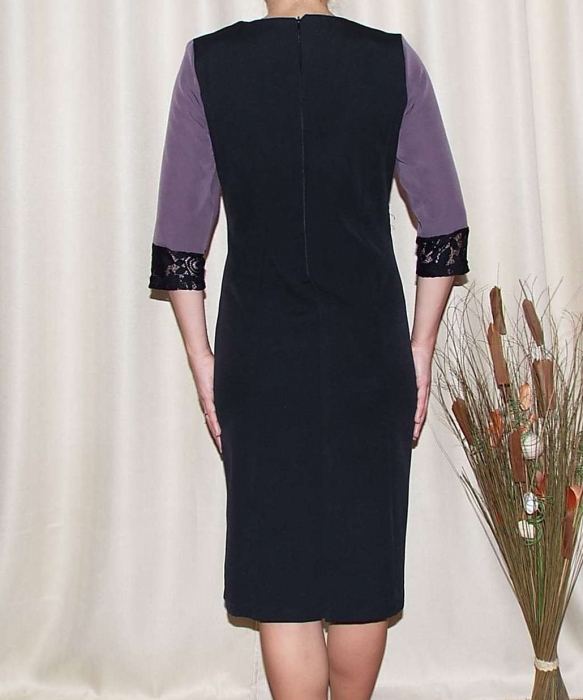 Rochie midi eleganta din stofa cu dantela - Edina Mov [1]