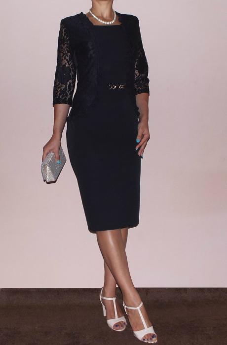 Rochie midi eleganta din stofa si dantela - Anabela Negru [0]