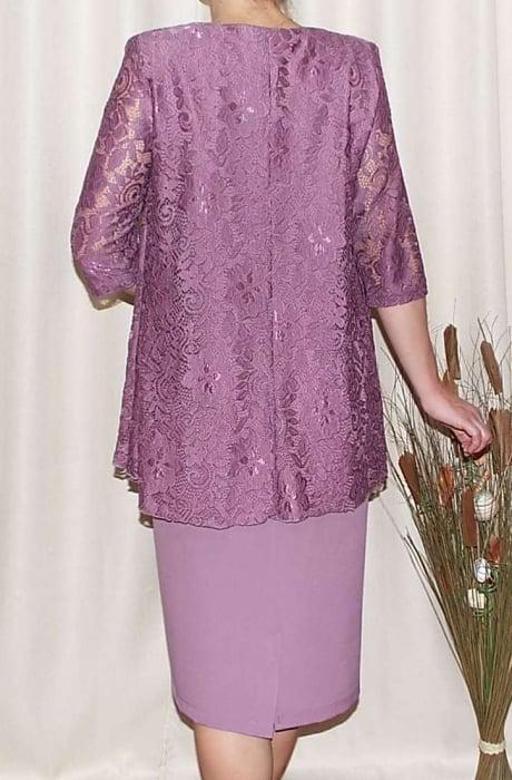 Rochie midi eleganta din stofa si dantela-Anastasia Lila 1