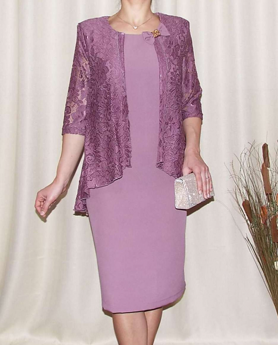 Rochie midi eleganta din stofa si dantela-Anastasia Lila 0