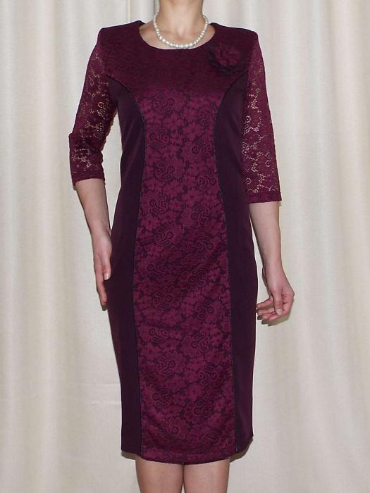 Rochie midi eleganta din stofa si dantela  - Antonia 0