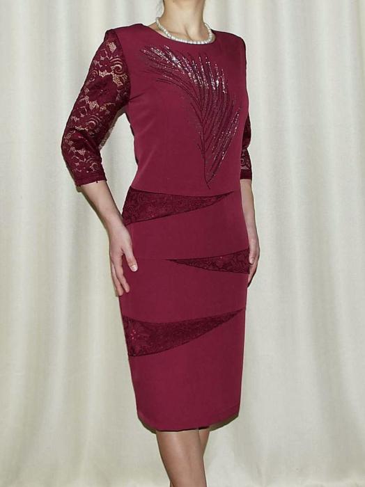 Rochie midi eleganta din stofa si dantela - Maria Grena 0