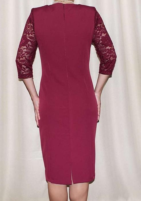 Rochie midi eleganta din stofa si dantela - Maria Grena 1
