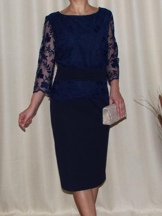 Rochie midi eleganta din stofa si dantela - Mirela Bleumarin 0