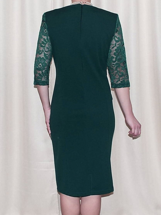 Rochie midi eleganta din stofa si dantela - Octavia Verde 1