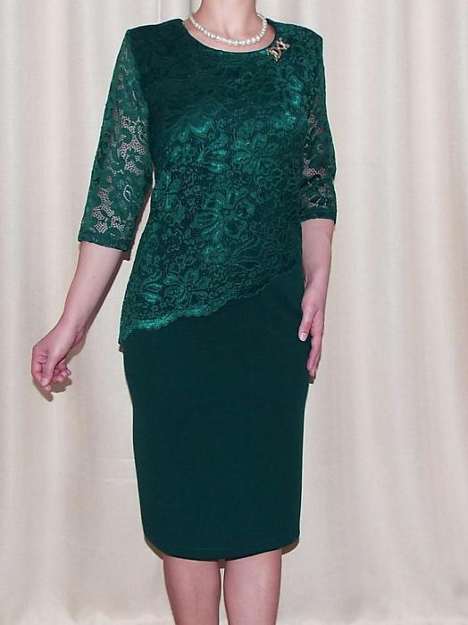Rochie midi eleganta din stofa si dantela - Octavia Verde 0
