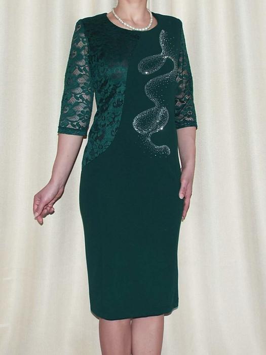 Rochie midi eleganta din stofa si dantela - Veronica Verde 0