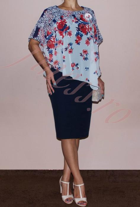 Rochie midi eleganta din stofa si voal imprimat - Lavinia 0
