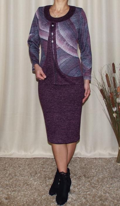 Rochie midi eleganta din tricot cu imprimeu - Adriana Mov 0