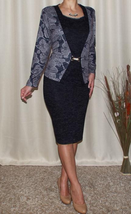 Rochie midi eleganta din tricot cu maneca lunga - Alberta Gri 1