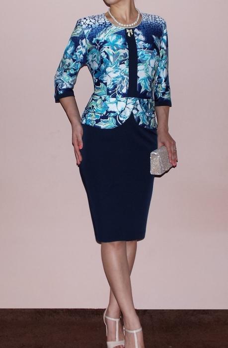 Rochie midi eleganta din vascoza si stofa - Zara Albastru 0