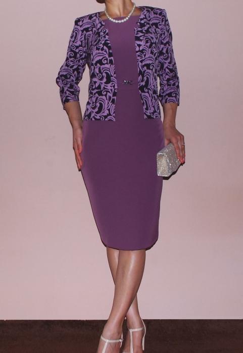 Rochie midi eleganta lila cu maneca trei sferturi - Medeea [0]
