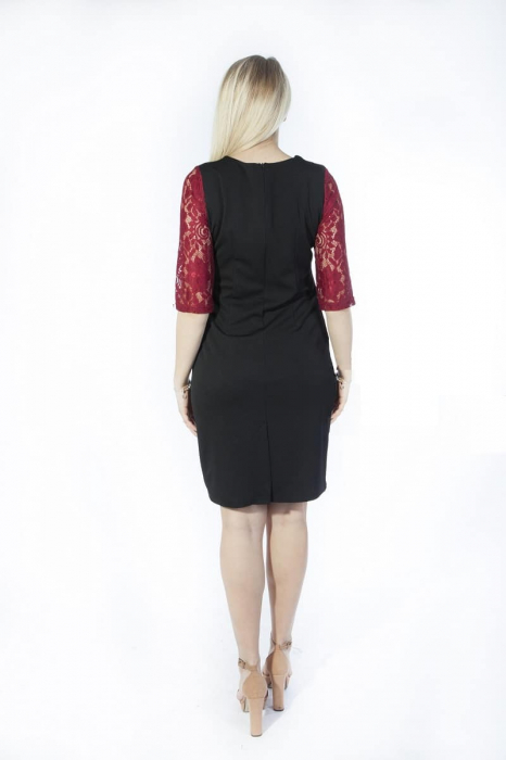 Rochie midi eleganta neagra cu dantela grena - Ruxandra 1