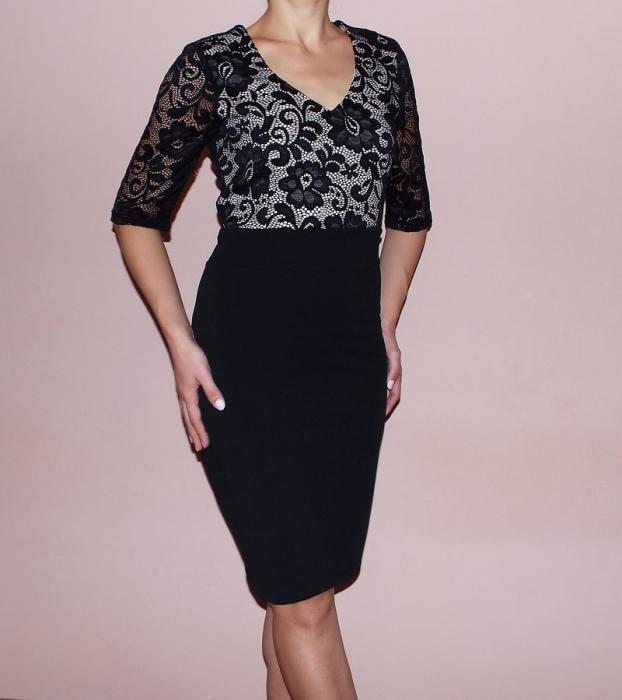 Rochie midi eleganta neagra cu dantela si maneca scurta - Cecilia 0