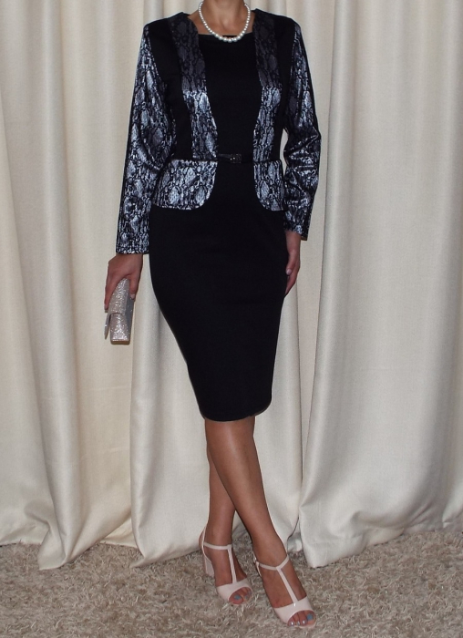 Rochie midi eleganta neagra cu maneca lunga - Greta 0