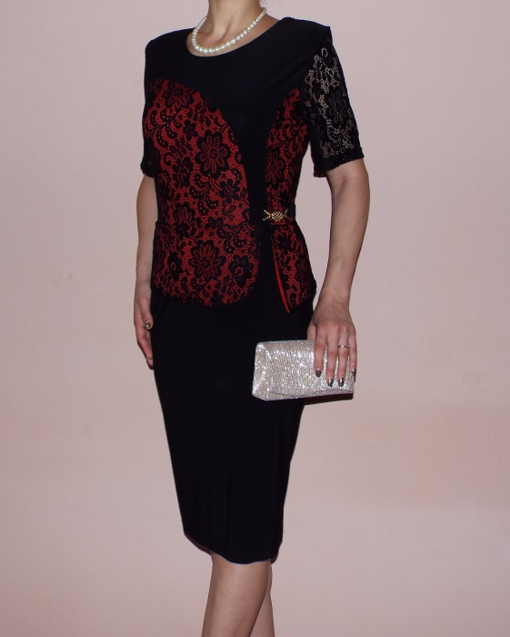 Rochie midi eleganta neagra cu maneca scurta - Cora [0]