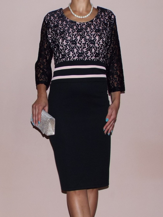 Rochie midi eleganta neagra din lacoste si dantela - Anda 0