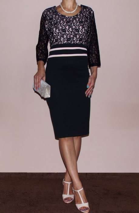 Rochie midi eleganta neagra din lacoste si dantela - Anda 1