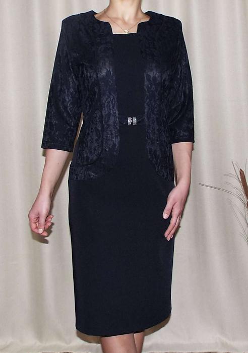 Rochie midi eleganta neagra din stofa si dantela - Ligia [0]