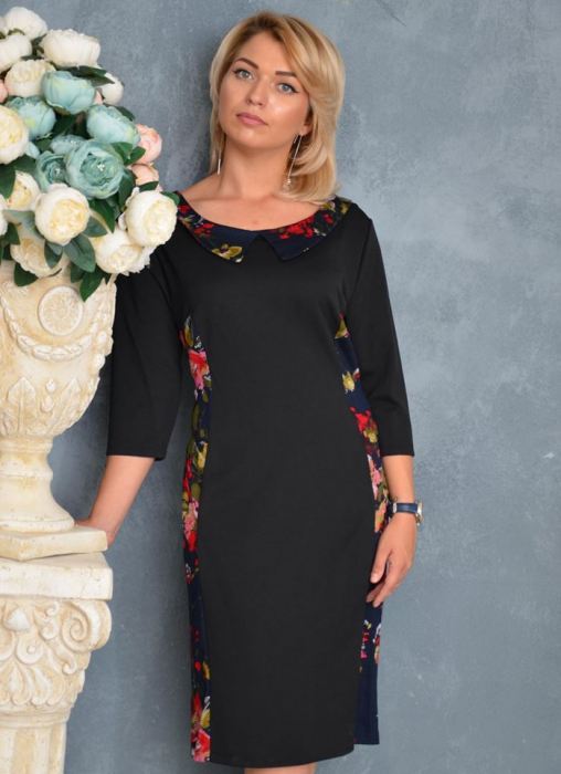 Rochie midi neagra cu imprimeu floral si guler - Emilia Floral 0