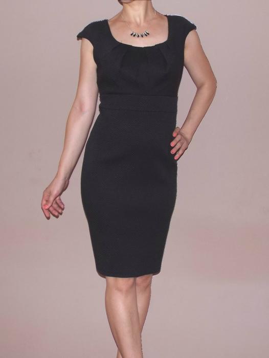 Rochie midi neagra din jerse gofrat cu maneca scurta - Ivet [0]