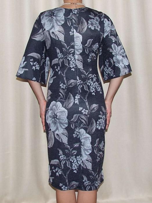 Rochie midi tricotata cu imprimeu floral - Carla Gri Inchis 2