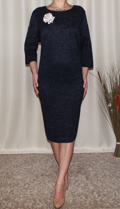 Rochie midi tricotata cu maneca trei sferturi - Romina Negru 0