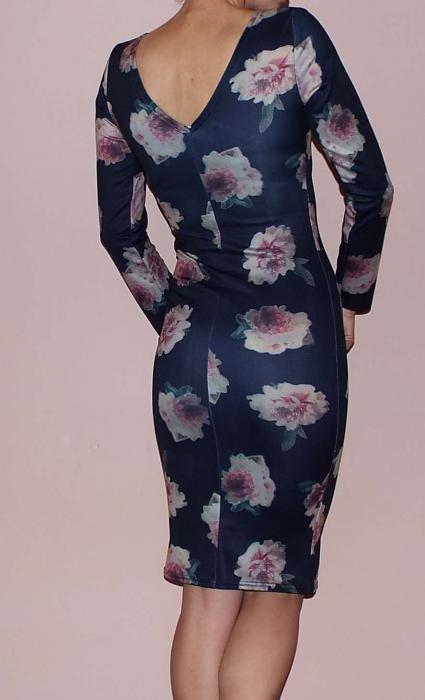 Rochie mulata bleumarin cu imprimeu floral si maneca lunga-R540B 1