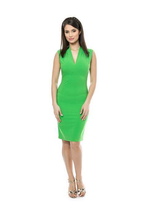 Rochie mulata verde cu decolteu in V si pliuri la umeri - R616 0