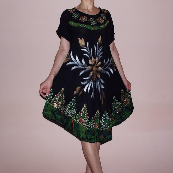 Rochie neagra asimetrica cu imprimeu floral - Elvira Verde [0]