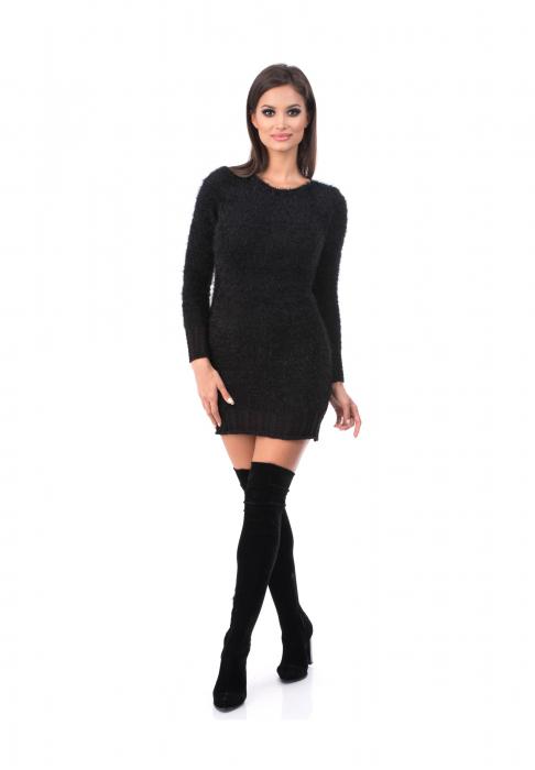 Rochie neagra cu maneca lunga din material pufos - R3002 0