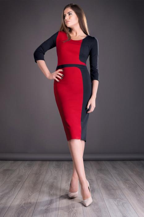 Rochie office rosu - negru cu maneca trei sferturi - Natalia 0