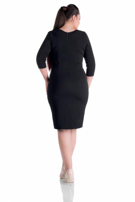 Rochie office rosu - negru cu maneca trei sferturi - Natalia 1