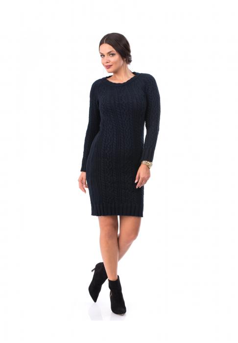 Rochie scurta bleumarin din tricot - R10TR 0