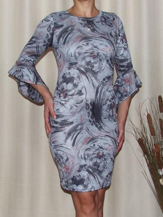 Rochie tricotata cu imprimeu si maneca trei sferturi - Eliza 3 0